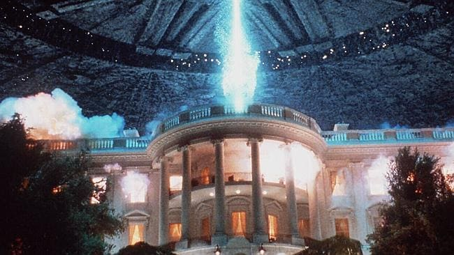 Clinton's fear ... Mr Clinton's former home is obliterated in this scene from Independence Day.