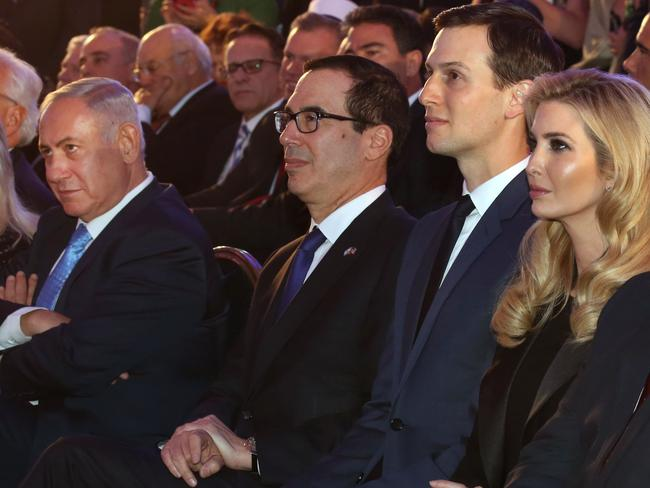 Israeli Prime Minister Benjamin Netanyahu sits with US treasury secretary Steve Mnuchin, Jared Kushner and Ivanka Trump at the embassy's opening. Picture: AFP/Gali Tibbon