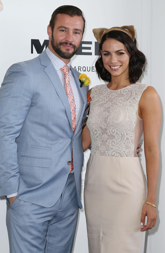 Kris Smith and Maddy King in the Myer marquee at the Melbourne Cup.