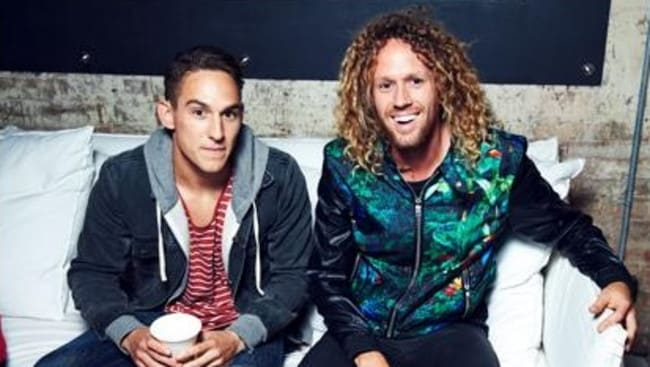 Stranger act ... Tim Dormer and real-life housemate Jake, a contestant on Big Brother.