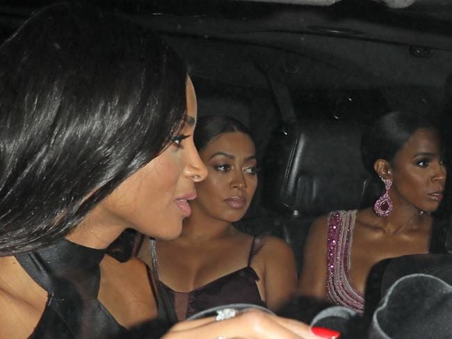 Ciara, La La Anthony and Kelly Rowland arriving at the wedding. Picture: Backgrid