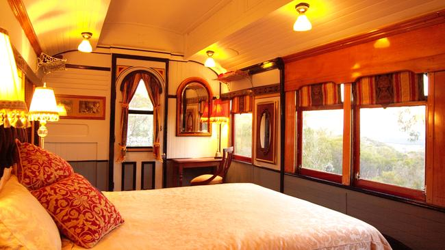 The 100-year old train carriage has been converted to luxury holiday accommodation. Picture: Stayz.