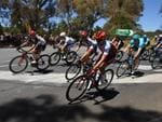 Riders take a corner. Picture: Dan Peled/AAP Image