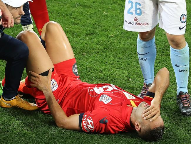 Tarek Elrich just after injuring his knee against Melbourne City.