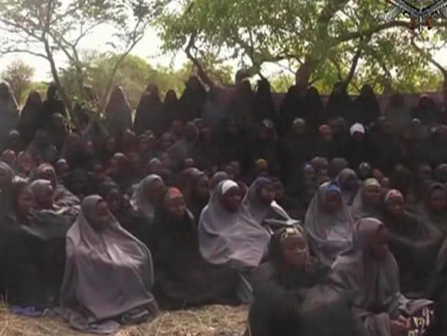 Taken ... Nigeria's Boko Haram shared footage of the schoolgirls they abducted. Picture: AP Photo