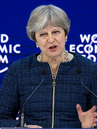 Theresa May addresses the Economic Forum in Davos. Picture: AFP/Fabrice Coffrini