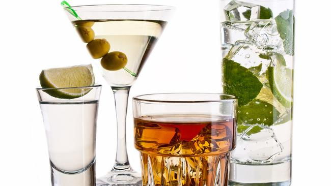 Various cocktails and alcohol on white background for personal oz
