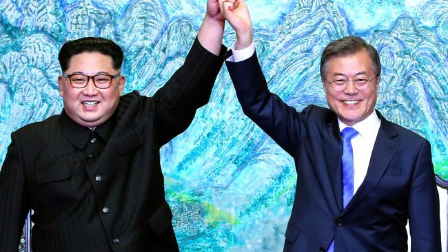 This suddenly feels like a long time ago. North Korean leader Kim Jong-un with South Korean President Moon Jae-in. Pic: AP