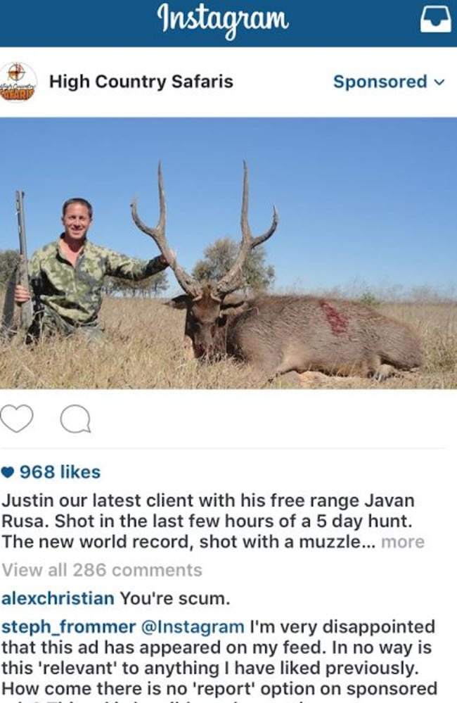 The sponsored post on Instagram depicts a man who appears to have just shot a deer.