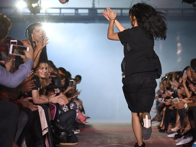 Designer Alexander Wang greets the audience including Madonna, seated. Picture: AP Photo/Diane Bondareff