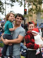 Eamonn Jeffries with sons Atticus, 3, Remy, 5 months and partner Celina. Photo Naomi Jellicoe