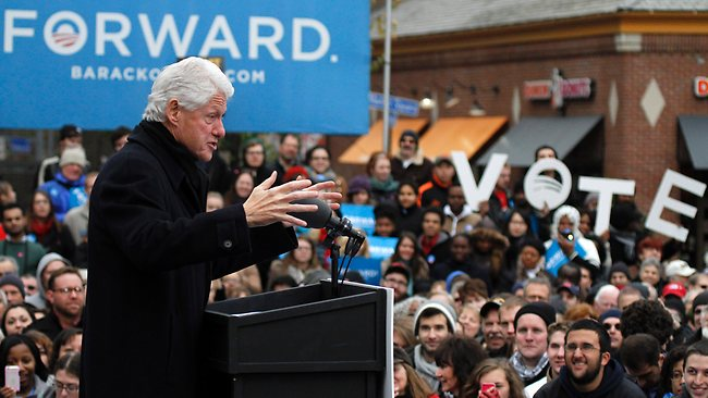 Former US president Bill Clinton has played a key role in this election, barnstorming the country for fellow Democrat Barack Obama. Picture: AP