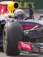 Ricciardo celebrating as he returns to the pits. (AP Photo/The Canadian Press, Jacques Boissinot)