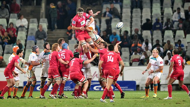 Jake Schatz of the Reds wins a lineout against the Cheetahs in Bloemfontein. The Cheetahs upset the Reds in the Super Rugby clash. Picture: Loren Battersby