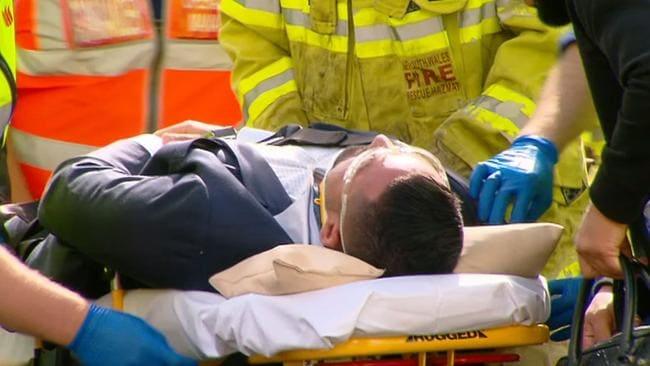 Salim Mehajer is taken to hospital after the accident in Lidcombe in Sydney's west. Picture: Rob Quee