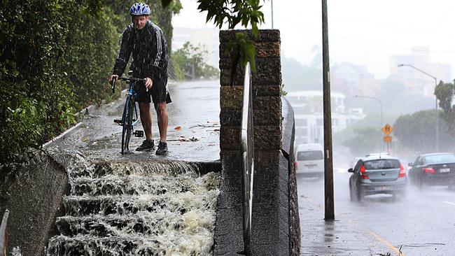 Chris Mead from Hamilton on Kingsford Smith Drive stairs that run parallel to road. Pic Annette Dew