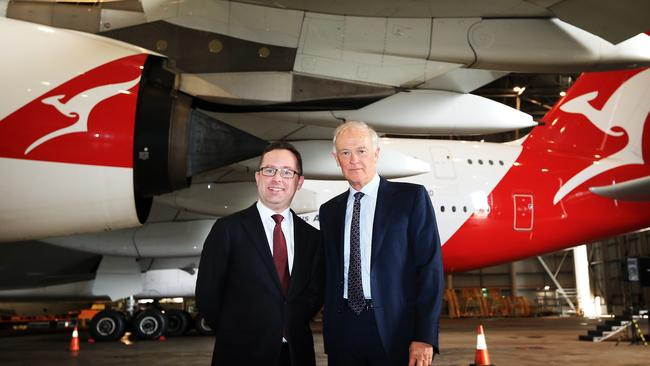 Global partnership ... Qantas CEO Alan Joyce with Emirates President Tim Clark at the launch of the first flight to Dubai under the Qantas/Emirates codeshare deal.