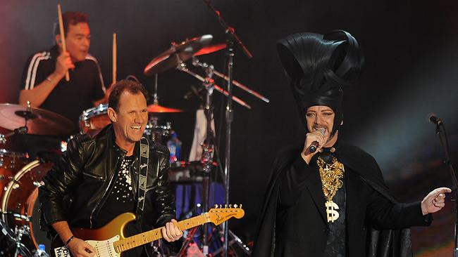 Electric dreams: Culture Club live on stage last year. Not pictured: Mikey Craig on bass.