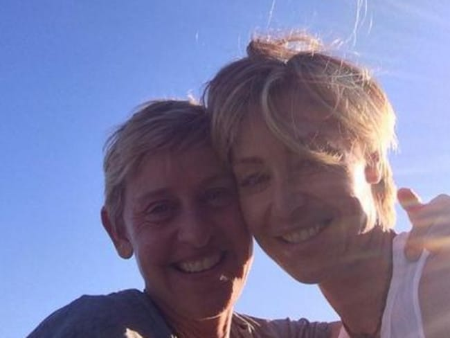 Six years ... Ellen DeGeneres and Portia de Rossi celebrate their wedding anniversary.