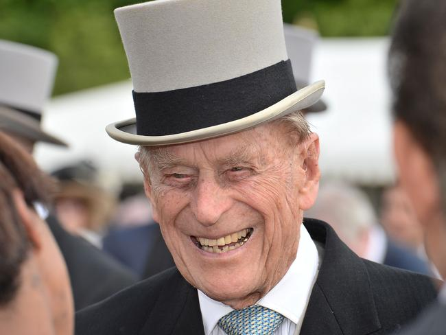 Prince Philip, Duke of Edinburgh greeted guests at a garden party at Buckingham Palace on June 1.