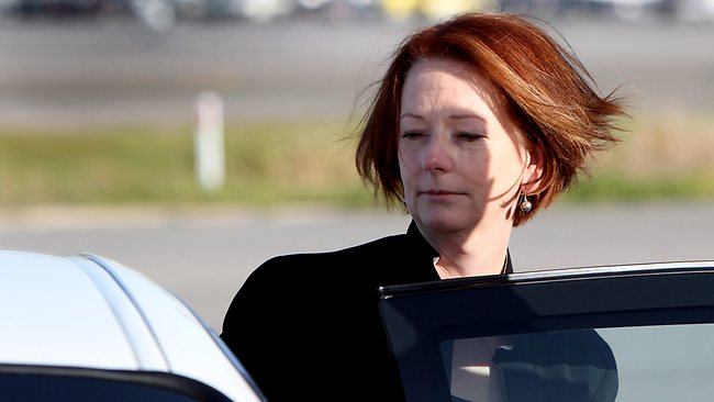 Prime Minister Julia Gillard arrives in Adelaide following the death of her father John yesterday. Picture: Calum Robertson