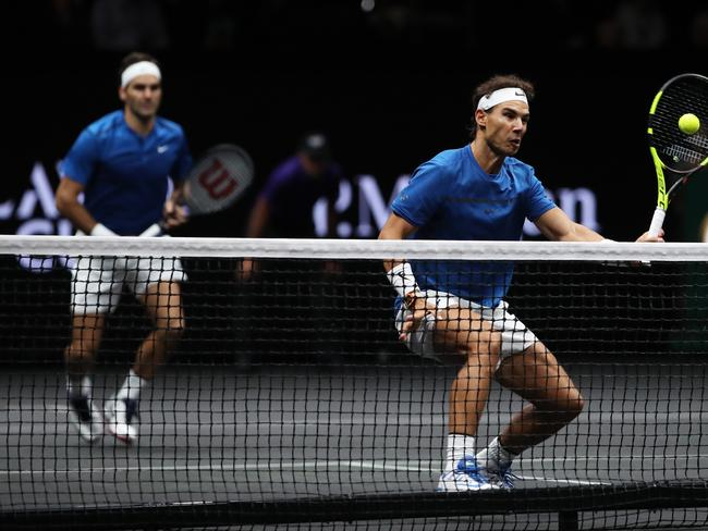 Roger Federer and Rafael Nadal of Team Europe in action during there doubles match against Jack Sock and Sam Querrey of Team World in the Laver Cup.