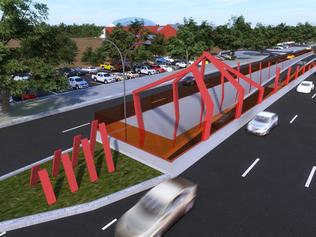 South Australia Government releases revised plan for $160m O-Bahn tunnel from Hackney to Rundle Road . Tunnel entry and exit points on Hackney Road looking north.