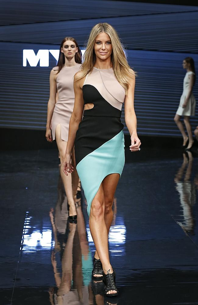 Jennifer Hawkins wearing a Yeojin Bae design at the Myer VIP autumn/winter collection lau