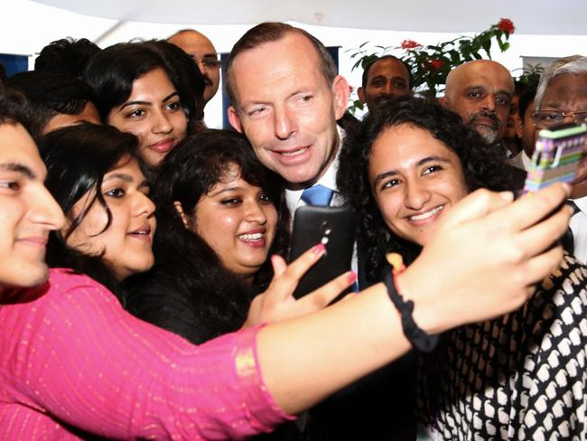 Rock star welcome … Prime Minister Tony Abbott in Mumbai.