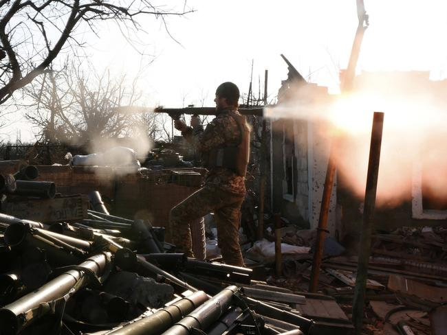 An Ukrainian serviceman shots with a grenade launcher during fighting with pro-Russian separatists in Avdiivka, Donetsk region on March 30, 2017. Picture: Anatolii Stepanov/AFP
