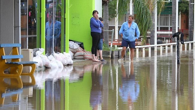 Though the flood levels in Roma are steady, Premier Bligh says until the water goes down it's goingl be difficult to find out how much damage the floods have done to homes and businesses. Picture: The Courier Mail