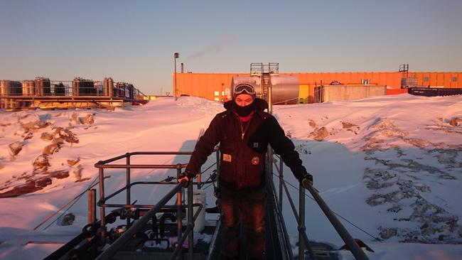 Brendan Hopkins performing refuelling operations at Casey research station — which is when they pump fuel from the lower fuel farm up to station. The operation involves continuous monitoring over a 24 hour period, so the team take shifts in the cold. Picture: Jacque Comery/Australian Antarctic Division