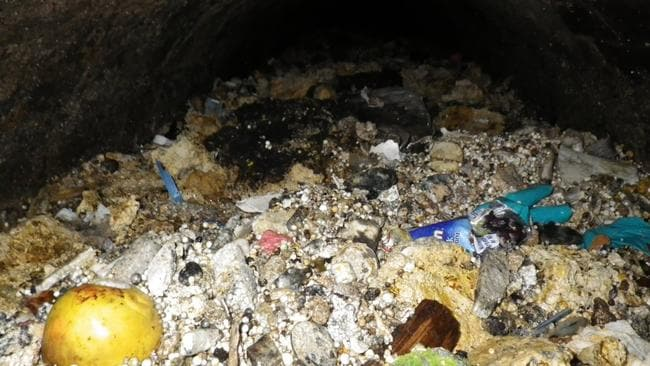 Foul blockage ... Photos shows the sewer blockage or 'Fatberg' that was the size of a Boeing 747. Picture: Thames Water