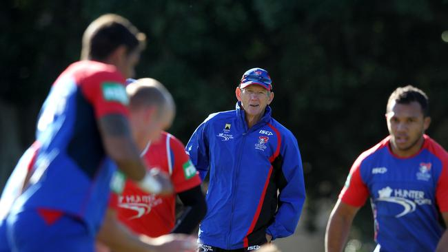 Wayne Bennett, coach of the Newcastle Knights at team training.