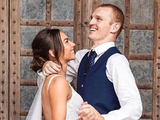 Former Newcastle Knights Rugby League star and Wheelchair bound Alex McKinnon defied the odds to stand as he married his partner Teigan Power in a ceremony at the Hunter Valley. Source: Instagram https://www.instagram.com/p/BaTVwVAAoGg/