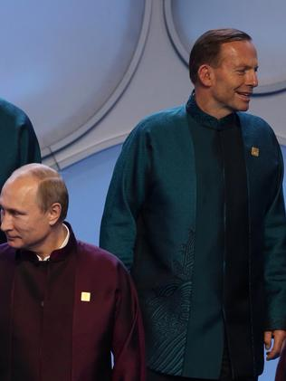 The awkward exchange between Abbott and Putin. Picture: Andrew Meares
