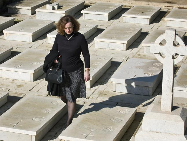 Australian High Commissioner to Malta ... Jane Lambert at the Pieta Military Cemetery. Picture: Ella Pellegrini