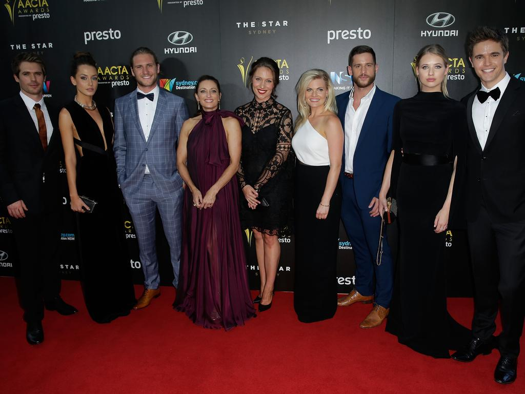 Members of Home And Away arrive ahead of the 5th AACTA Awards Presented by Presto at The Star on December 9, 2015 in Sydney, Australia. Picture: Getty