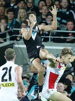 Round 12: Yet another great grab from Chad Wingard. Picture: Sarah Reed