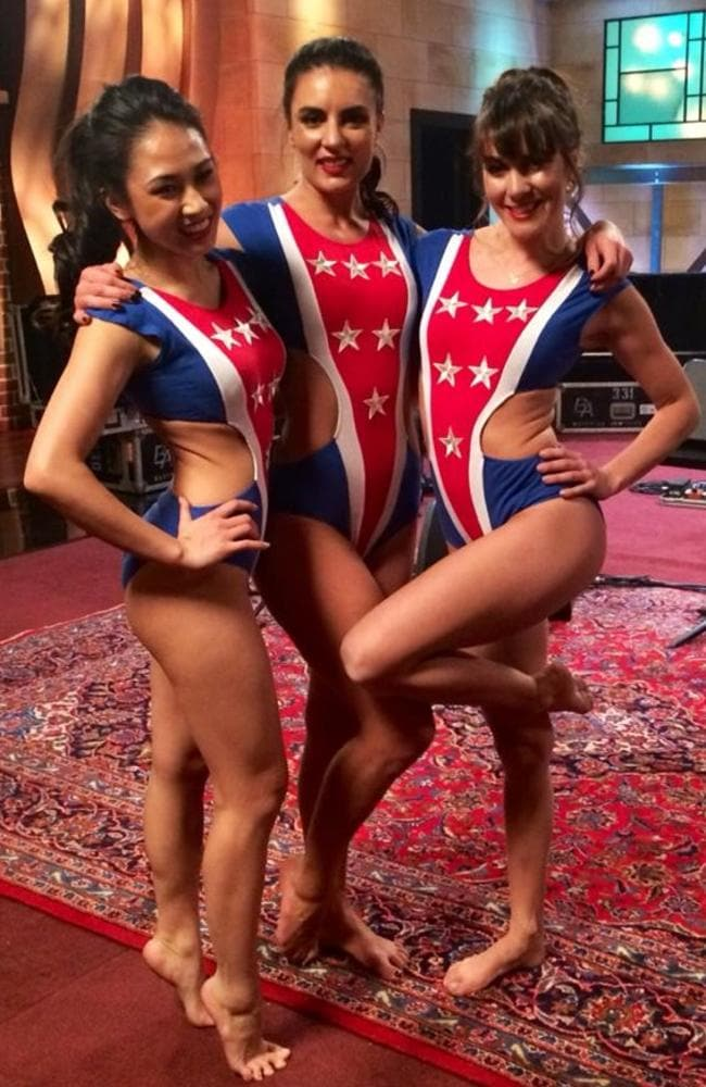"""What they wore on the night ... pole dancing instructors Pepper, Michelle Shimmy and Maddie Sparkle were dubbed """"stripper gymnasts"""". Picture: Michelle Shimmy/Facebook"""