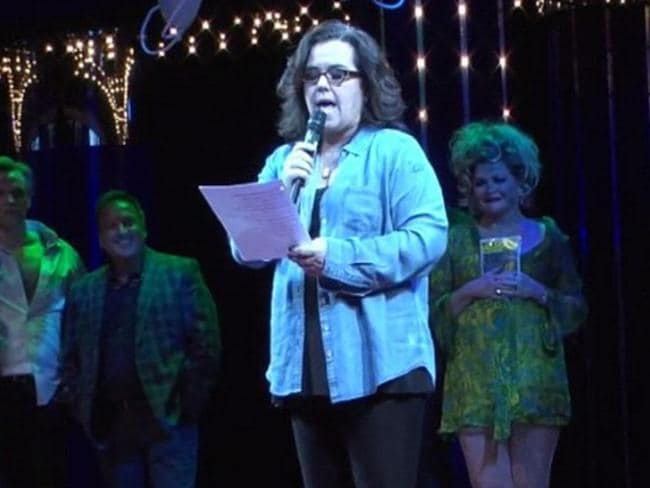 Rosie O'Donnell has frequently slammed Donald Trump (pictured here criticising him in a song), but hasn't spoken about him since he started his term as President.