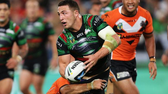 Sam Burgess was a handful for the Tigers on Friday night.