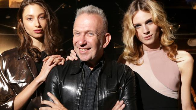 Jean Paul Gaultier with models Alexandra Agoston & Andreja Pejic at the official launch of his exhibition in Melbourne at the National Gallery of Victoria.