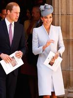 In a dress by Alexander McQueen styled with a Jane Taylor hat in a slightly darker hue Catherine, Duchess of Cambridge left St Andrew's Cathedral with her husband following a Easter Sunday Service in Sydney. Picture: Getty