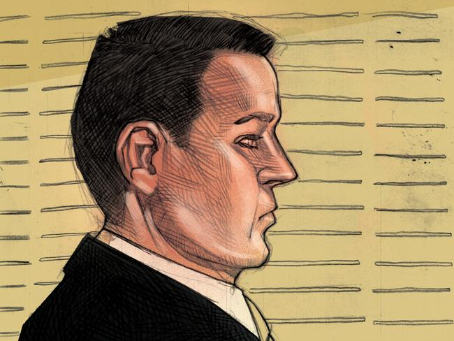 A court sketch of accused murderer Gerard Baden-Clay before the jury retired. Picture: Brett Lethbridge