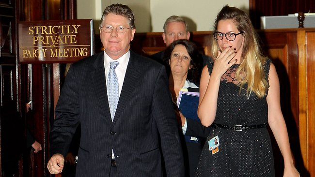 Victorian State Parliament. Premier Ted Baillieu resigns. New Premier Denis Napthine leaves the meeting. Picture: Ian Currie