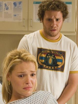 Box office hit ... Katherine Heigl, with Seth Rogen, even dubbed her hit film Knocked Up as sexist. Picture: Supplied