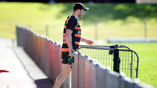 Captain Robbie Farah walks onto Concord Oval for training.