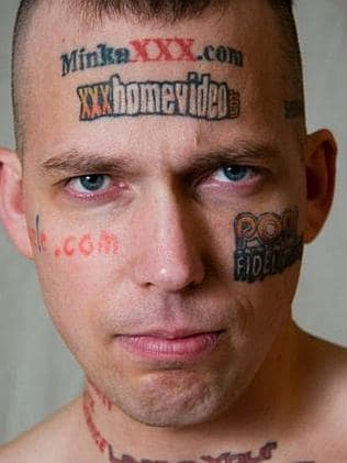 Human billboard: Billy Gibby's face is for sale. Picture: beerandstupidityblogspot.com.