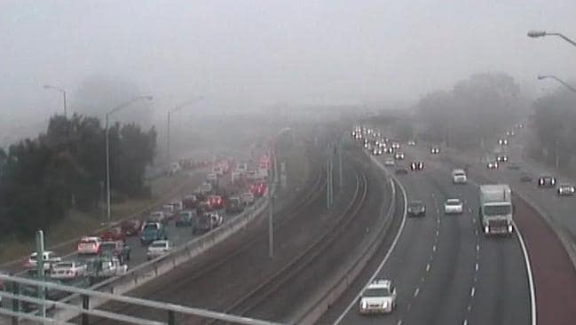 Freeway congestion is amplified by heavy fog. Picture: Main Roads Camera